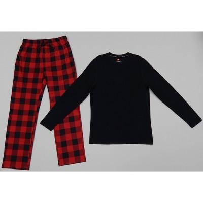 Hanes Men's Long Sleeve Lounge Pajama Set - Black