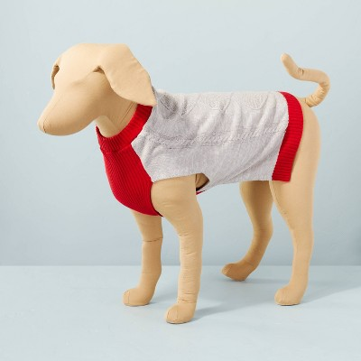 Cable Knit with Contrast Trim Pet Sweater Gray/Red - Hearth & Hand™ with Magnolia