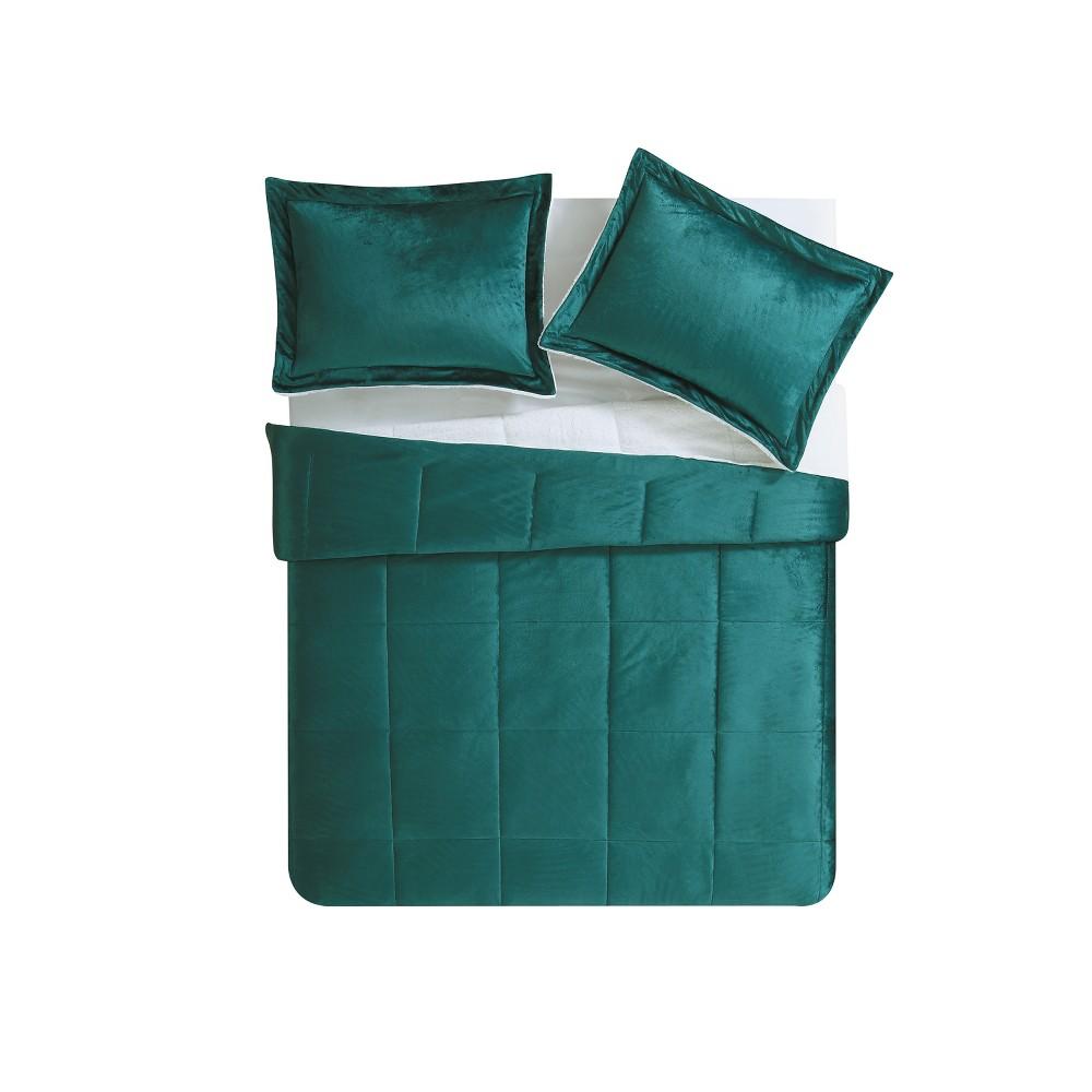 Queen Micro Mink Comforter Set Teal (Blue) - Vcny Home