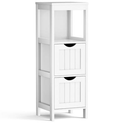 Costway Floor Cabinet Multifunction Bathroom Storage Organizer Rack w/ 2 Drawers