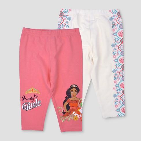 Toddler Girls' 2pk Disney Elena of Avalor Leggings - Pink/White 5T - image 1 of 3
