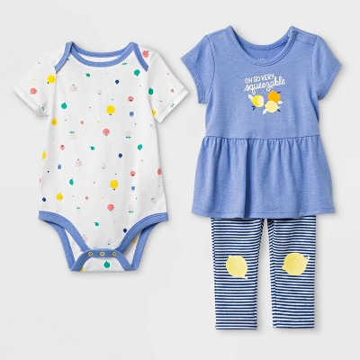Baby Girls' Bodysuit, Tunic and Leggings Set - Cat & Jack™ Blue/White 6-9M