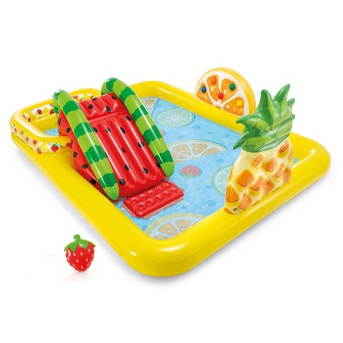 Intex 57158EP Fun'N Fruity 8ft x 6.25ft x 4in Outdoor Inflatable Kiddie Pool Water Play Center with Slide - image 1 of 4