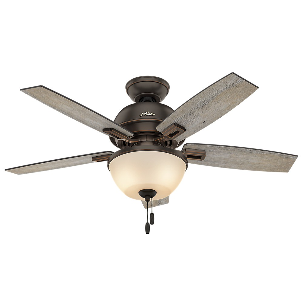 "Image of ""44"""" Donegan Bowl Light Onyx Bengal Ceiling Fan with Light - Hunter Fan"""