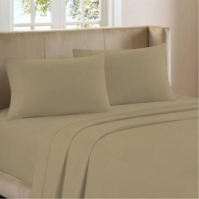 King 1200 Thread Count Cotton Rich Sateen Sheet Set Beige - Color Sense