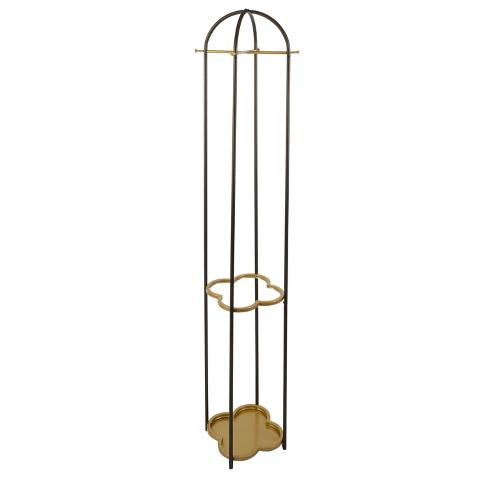 Phoebe Metal Coat Rack With Golden Quatrefoil Umbrella Stand Gold Silverwood
