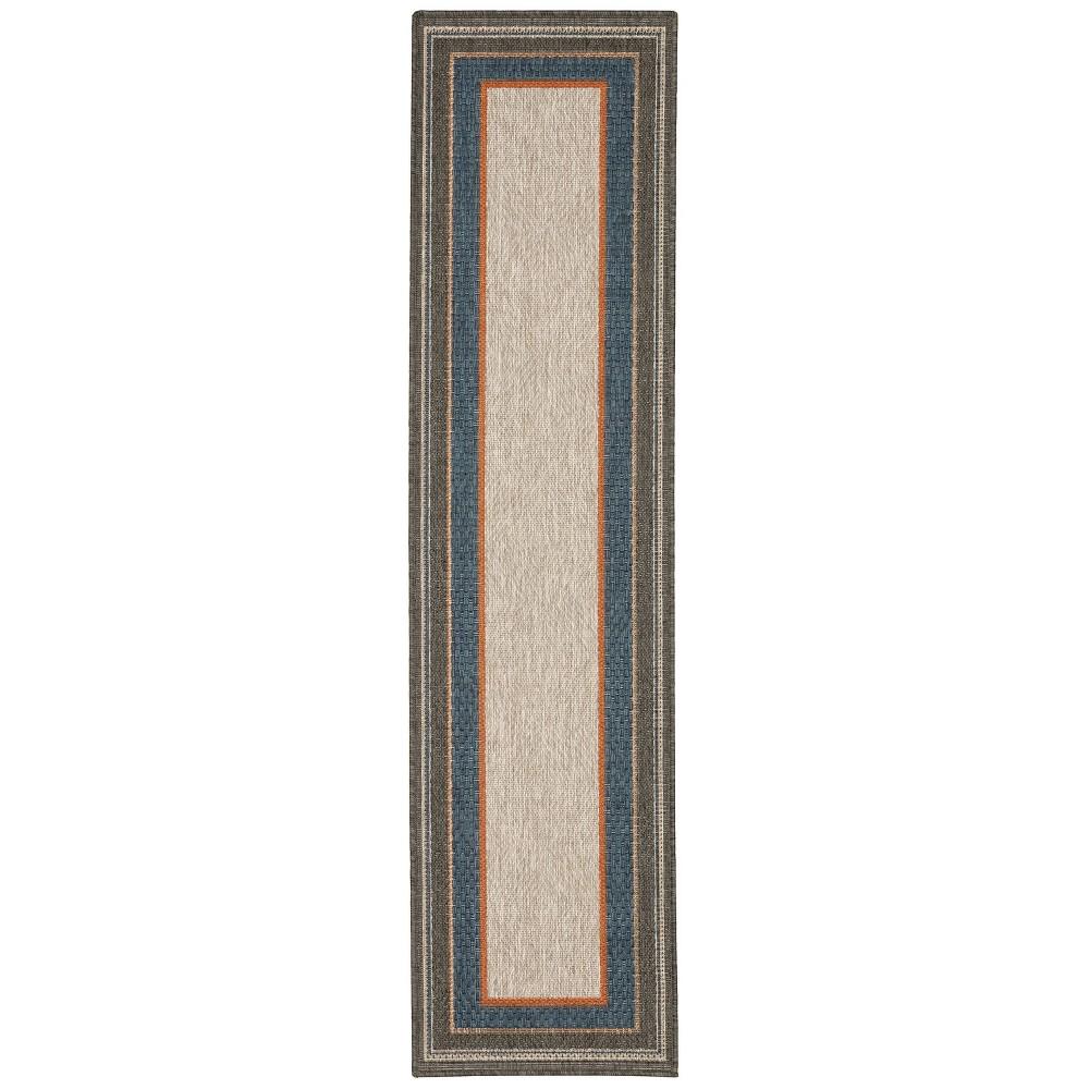 Landry Border Patio Rug Gray/Blue