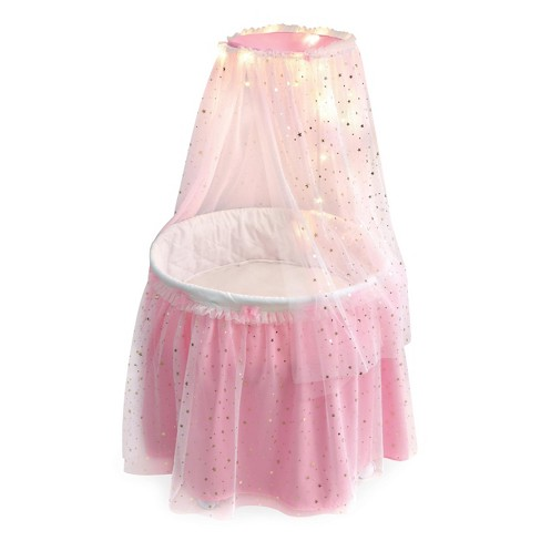 Badger Basket Sweet Dreams Round Doll Bassinet with Canopy and LED Lights - Pink/White/Stars - image 1 of 4