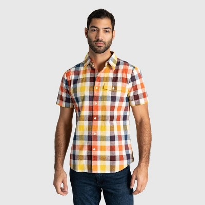 Men's United By Blue Natural Chambray Short Sleeve Button-Down Shirt
