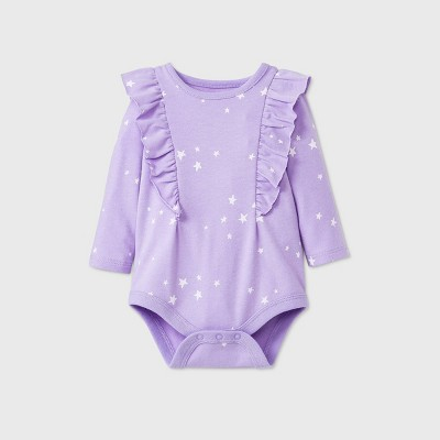 Baby Girls' Star Long Sleeve Ruffle Bodysuit - Cat & Jack™ Lavender 0-3M