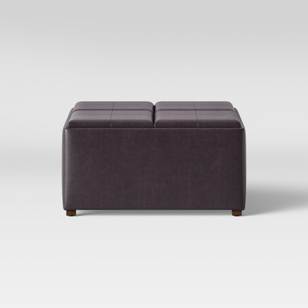 5pc Carver Large Square Nesting Ottoman Espresso Faux Leather - Threshold