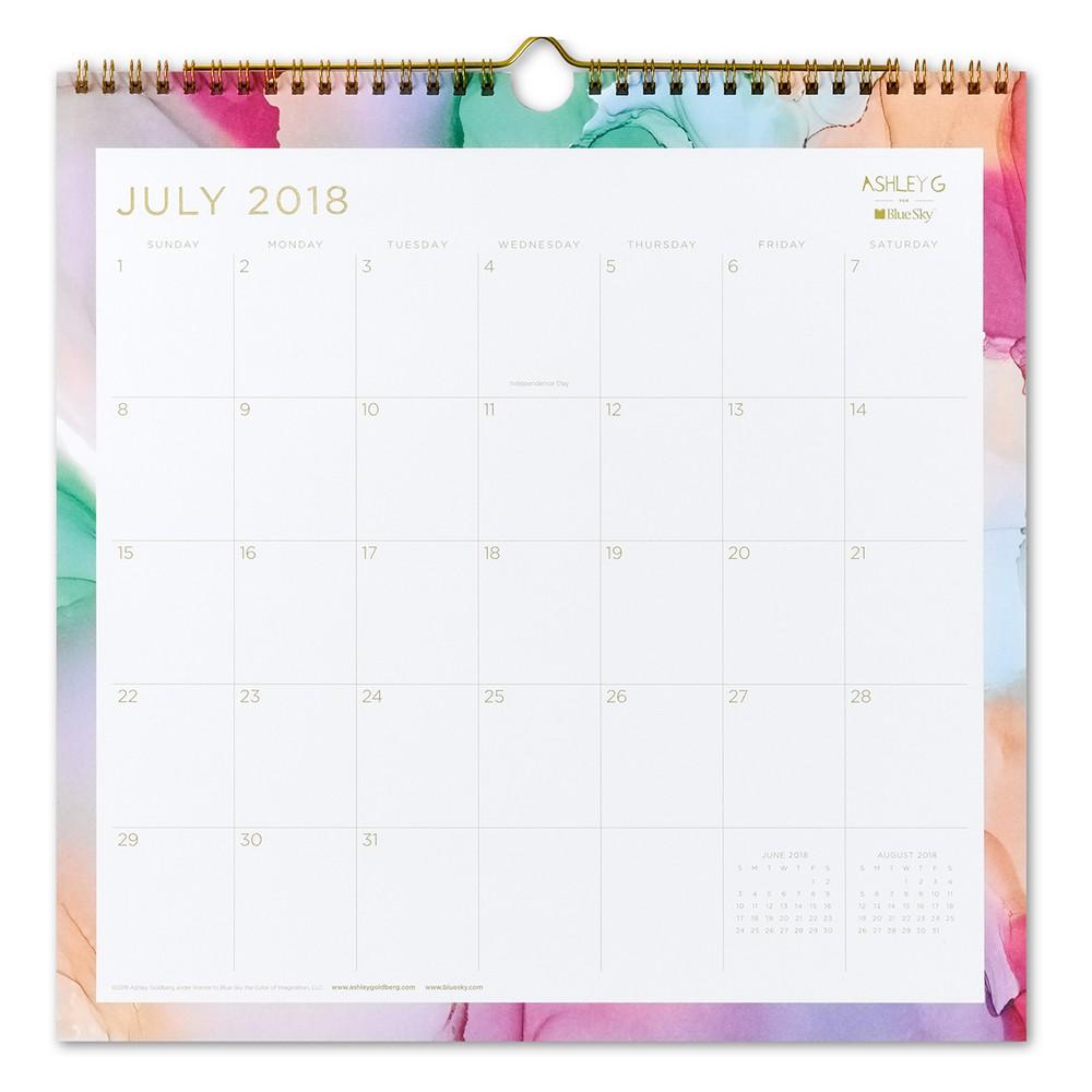 2018-19 Academic Wall Calendar Watercolor Design - Blue Sky, Multi-Colored