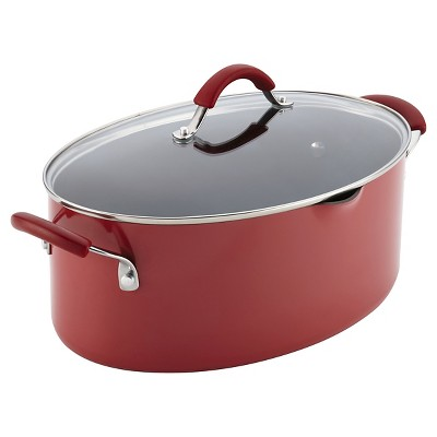 Rachael Ray Cucina Covered Oval Pasta Pot with Pour Spout 8qt Cranberry Red