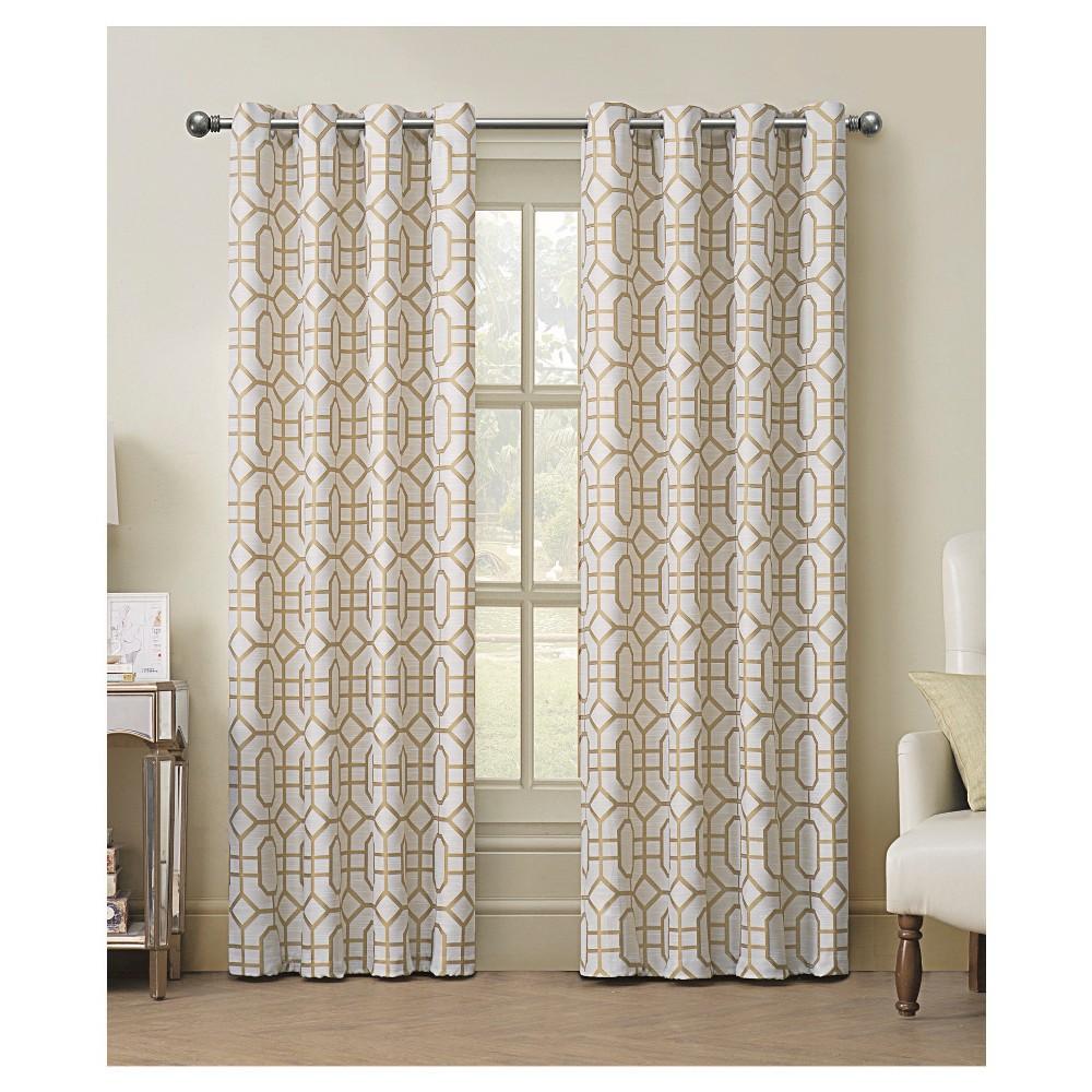 Tribeca Jacquard Grommet Curtain Panel - Gold (54x84)