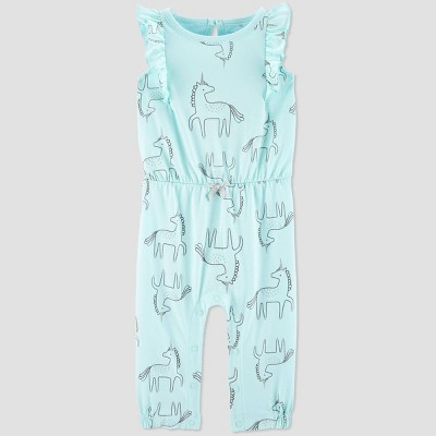 Baby Girls' Ruffle Unicorn Jumpsuit - Just One You® made by carter's Blue 9M