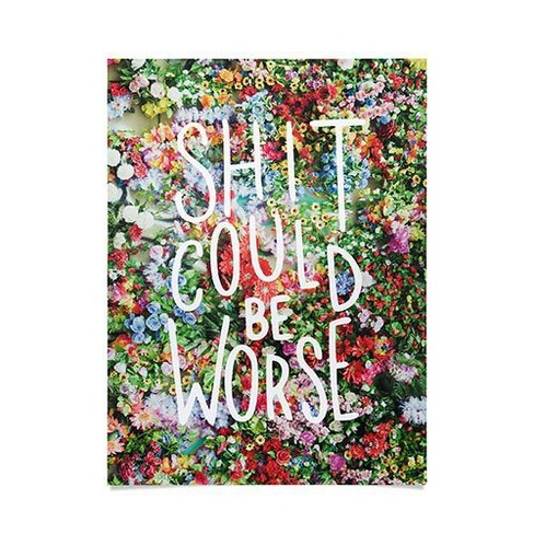 "18""x24"" Floral Typography Unframed Wall Poster Print Green - Deny Designs - image 1 of 1"