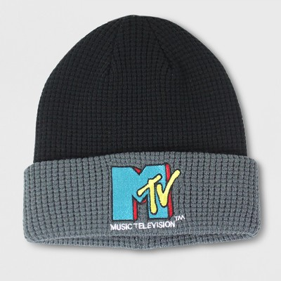 77f46be0716747 Men's MTV Waffle Knit Beanie – Black/Gray One Size – BrickSeek
