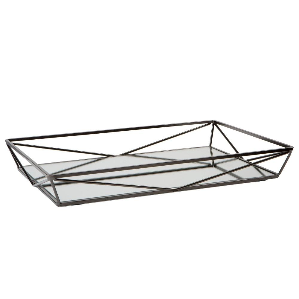Large Geometric Mirrored Vanity Tray Onyx (Black) - Home Details