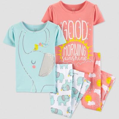 Baby Girls' 4pc Elephant Short Sleeve Pajama Set - Just One You® made by carter's Light Blue/Light Orange 18M