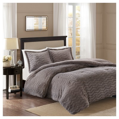 Gray Kaplan Brushed Long Faux Fur Comforter Mini Set (King/California King)