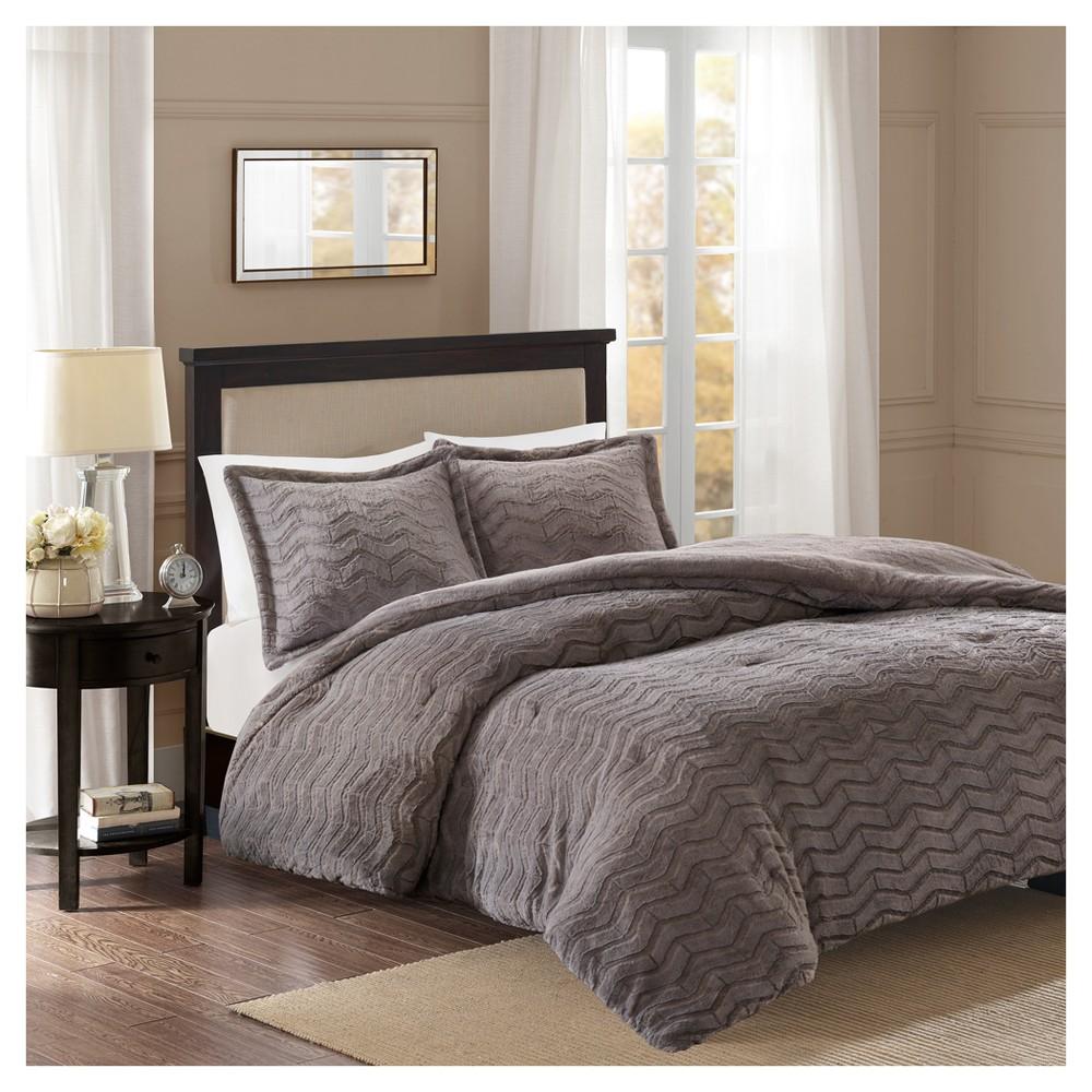 Gray Kaplan Brushed Long Faux Fur Comforter Mini Set (King/California King)