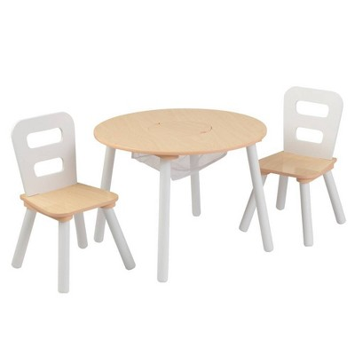 Round Table and 2 Chair Set White/Natural - KidKraft