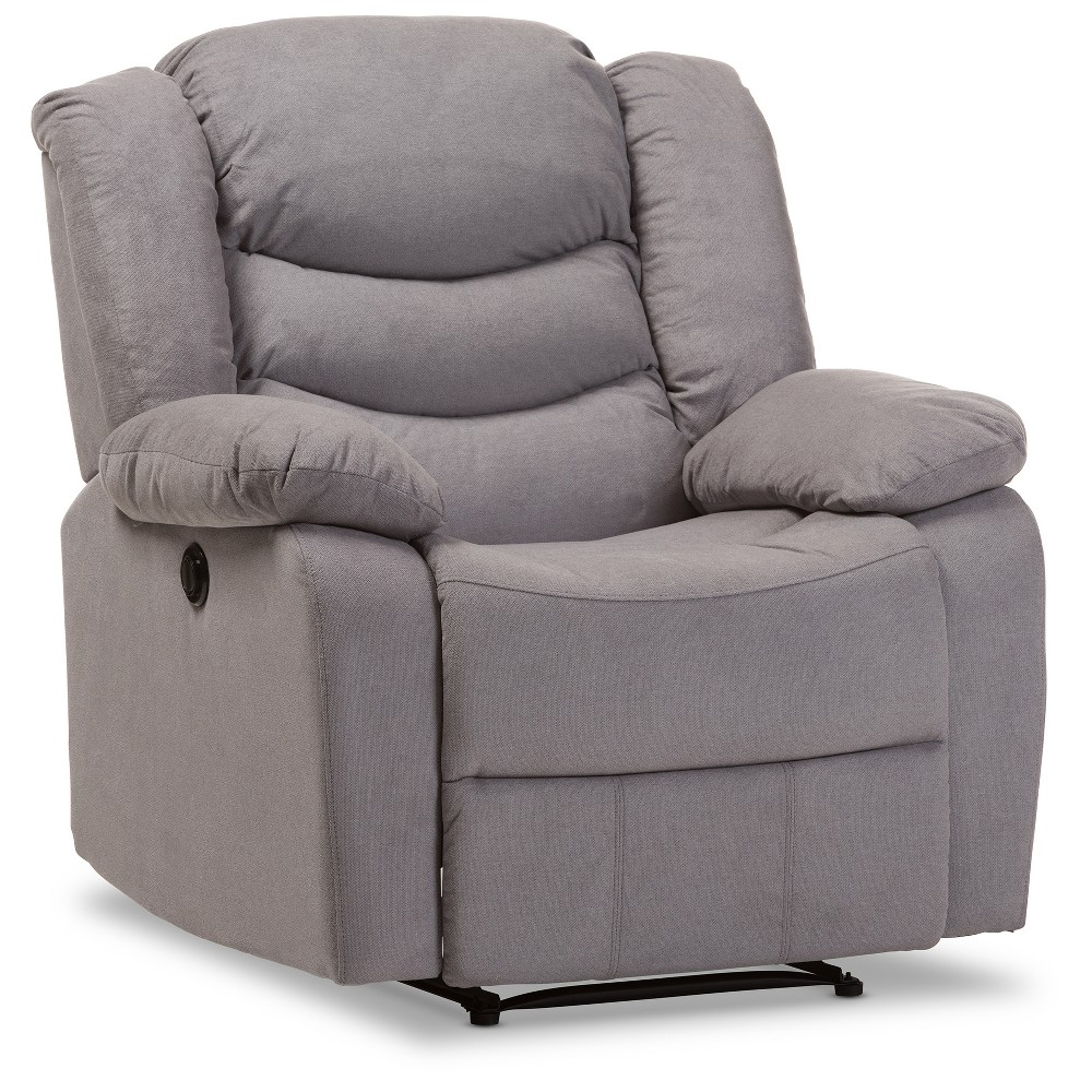 Lynette Modern and Contemporary Fabric Power Recliner Chair - Gray - Baxton Studio