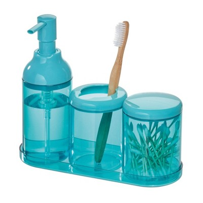 4pc Finn Bathroom Set Teal - iDesign