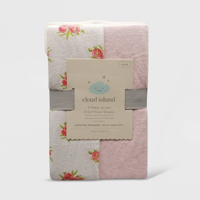 Fitted Crib Jersey Sheet Ditsy Floral and Solid Pink - Cloud Island™ Pink 2pk