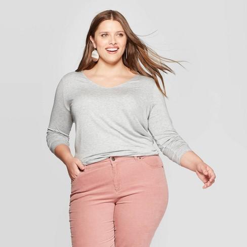 Women's Plus Size Long Sleeve V-Neck T-Shirt - Ava & Viv™ - image 1 of 2