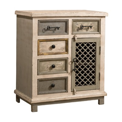 Superbe Larose Five Drawer Cabinet With Chicken Wire Door   Rustic White/Gray    Hillsdale Furniture