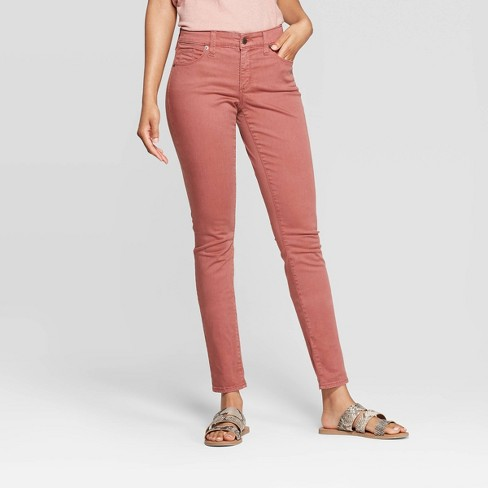 Women's Mid-Rise Skinny Jeans - Universal Thread™ Pink - image 1 of 4