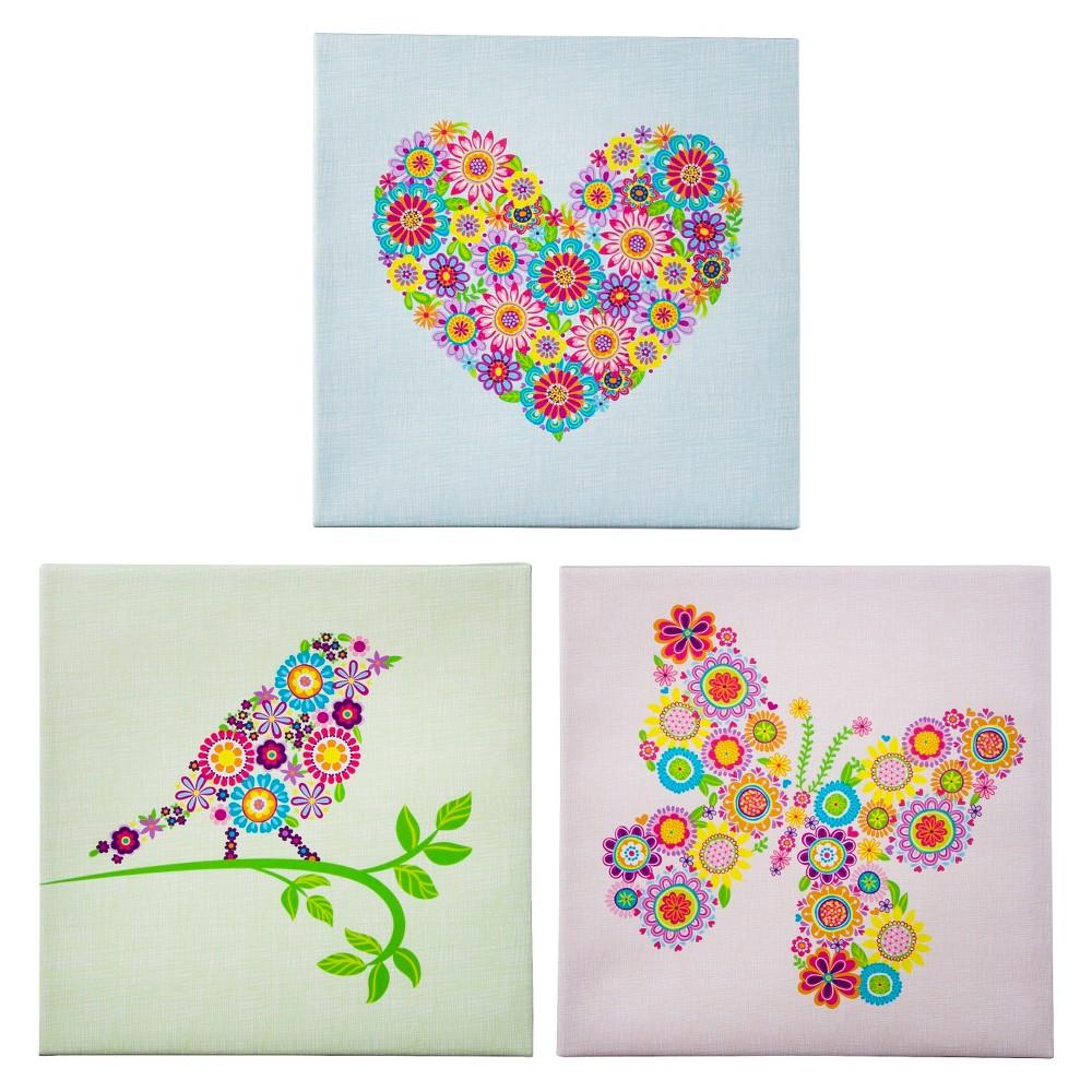 Image of Heart-Bird-and Butterfly Wall Art Set 12x12