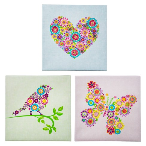 Heart-Bird-and Butterfly Wall Art Set 12x12 - image 1 of 1