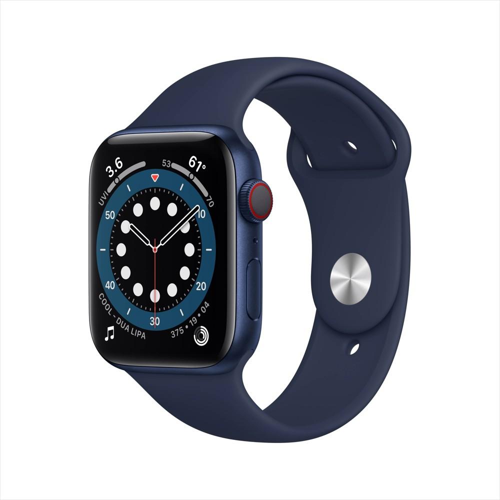 Apple Watch Series 6 Gps Cellular 44mm Blue Aluminum Case With Deep Navy Sport Band