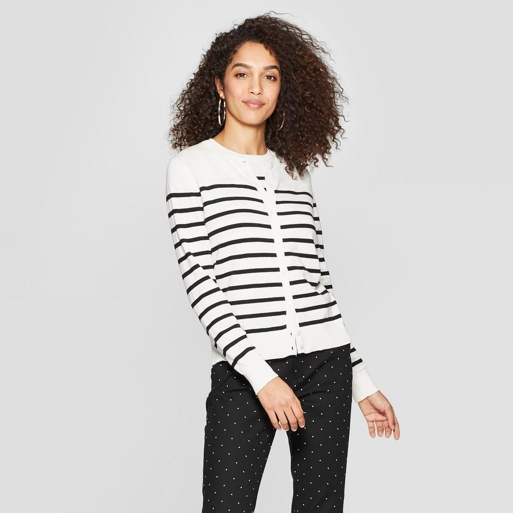 Women's Striped Long Sleeve Crewneck Cardigan - A New Day Cream/Black (Ivory/Black) L