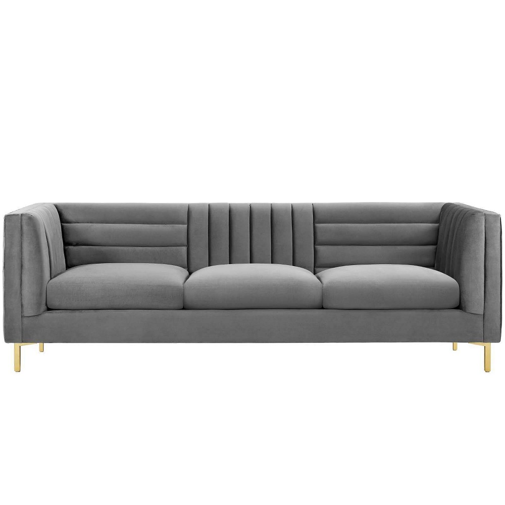 Image of Ingenuity Channel Tufted Performance Velvet Sofa Gray - Modway