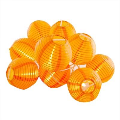 "10ct 3"" Electric String Light with Nylon Lanterns Orange"