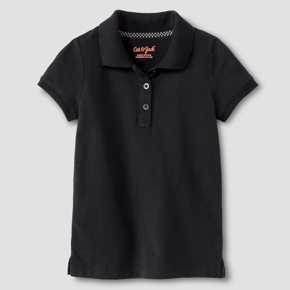 Toddler Girls' Pique Uniform Polo Shirt - Cat & Jack Black 4T