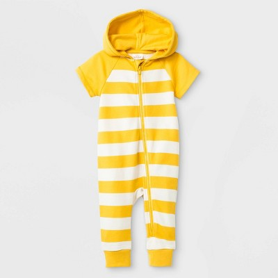 Baby Boys' Zipper Front Hooded Romper - Cat & Jack™ Yellow 6-9M