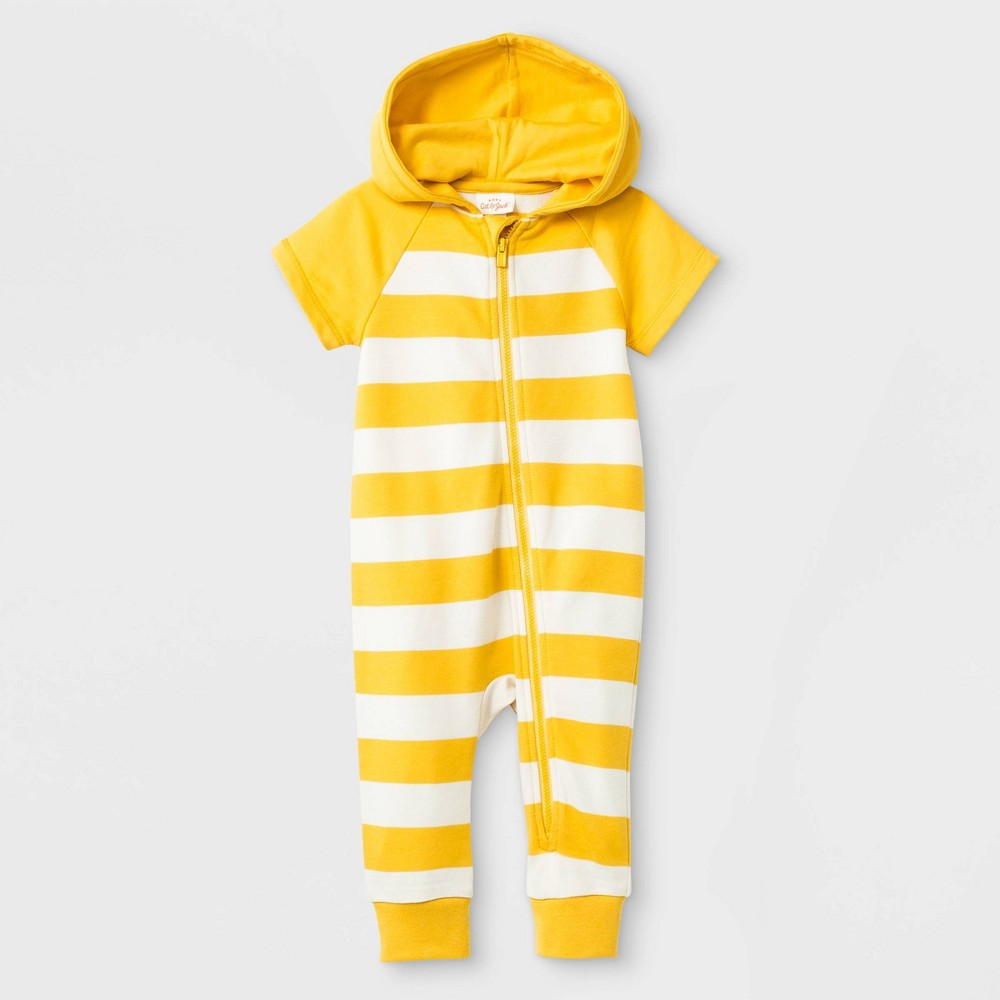 Baby Boys' Zipper Front Hooded Romper - Cat & Jack Yellow 0-3M, Gold