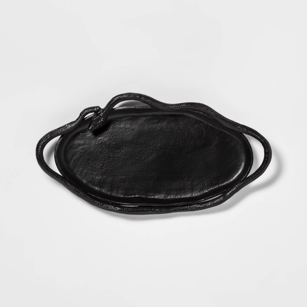 """Image of """"15.6"""""""" x 8"""""""" Metal Oval Tray with Snake Handles Black - Threshold"""""""