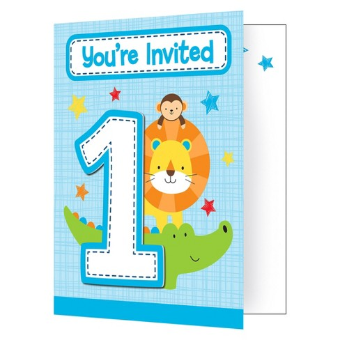 8ct one is fun boy invitations target