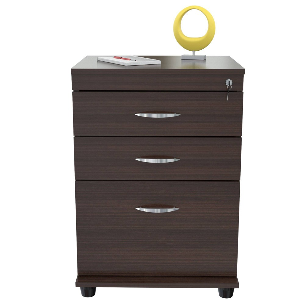 Image of 3 Drawer Locking File Cabinet Espresso - Inval
