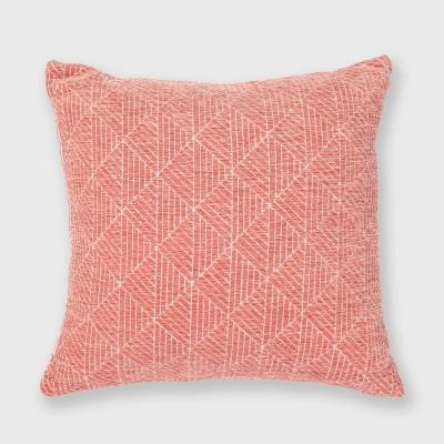 Geometric Chenille Woven Jacquard Reversible Throw Pillow - freshmint