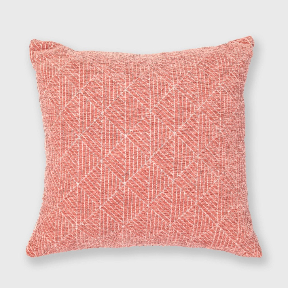 "Image of ""18""""x18"""" Geometric Chenille Woven Jacquard Throw Pillow Spanish Villa - Freshmint"""