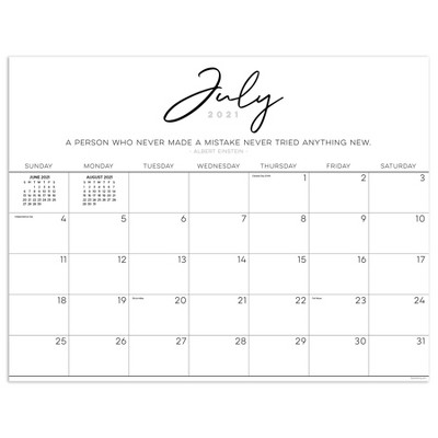 2021-22 Academic Desktop Calendar Inspirational Script Desk Pad Monthly - The Time Factory