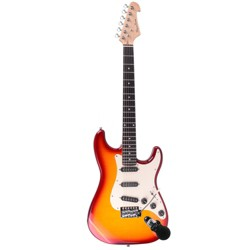 Spectrum Music Full Size Solid Body Electric Guitar - Cherry Burst Flamed Maple with Bonus Mini Amp