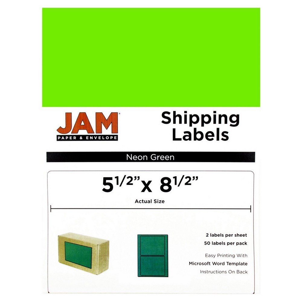 Jam Paper Shipping Labels 5.5 x 8.5 50ct - Neon Green