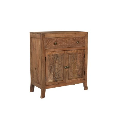 Heaton 2 Door and 1 Drawer Cabinet Antiqued Brown - Powell Company